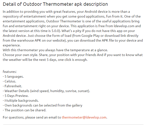Outdoor Thermometer 5.0.0 apk