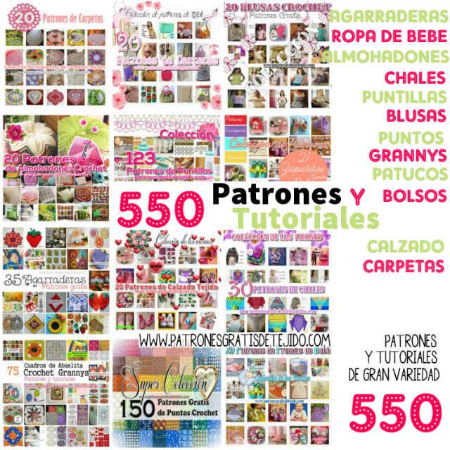 550 Patrones y Tutoriales para Tejer al Crochet y Dos Agujas ...