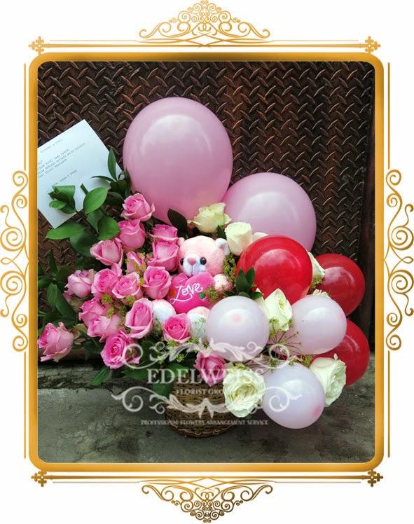 bunga & balon ucapan selamat kelahiran bayi