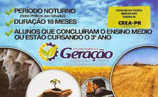 TÉCNICO AGRÍCOLA - COLÉGIO AGRÍCOLA GERAÇÃO