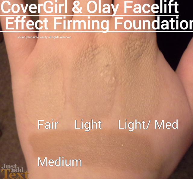 CoverGirl & Olay Facelift Effect Firming Foundation shades Swatches Review of Fair, Light, Light Medium