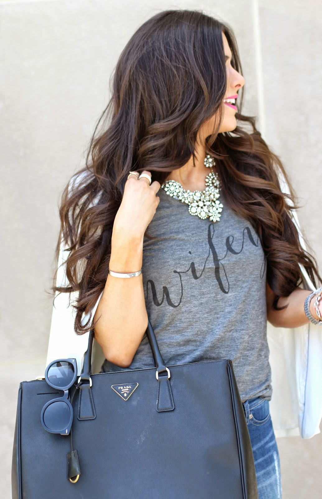 www.TheSweetestThingBlog.com, The Sweetest Thing, Emily Gemma, Emily Ann Gemma on Instagram, Emily Ann Gemma Pinterest, Wifey Tee Shirt, ILY couture Wifey Tee Shirt, How to style a gray tee, dittos skinny jeans, skinny jeans at nordstrom, christian louboutin heels, christian louboutin so kate 120mm, prada executive tote, prada bag in black large double zip, crystal flower necklace jcrew, white blazer, white blazer from nordstrom, white blazer from h&m, white boyfriend blazer, women's long white blazer, how to style a white blazer, how to wear nude pumps with jeans, nude pumps, pinterest summer fashion 2014, pinterest outfits for summer 2014, spring fashion 2014, style blogger, fashion blog with wifey tee, karen walker sunglasses