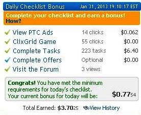 Daily Checklist Bonus - Clixsense Proof