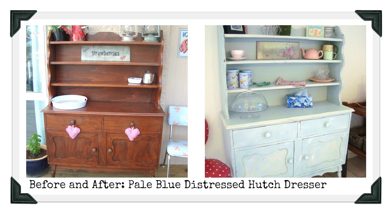 Before And After Pale Blue Hutch Dresser