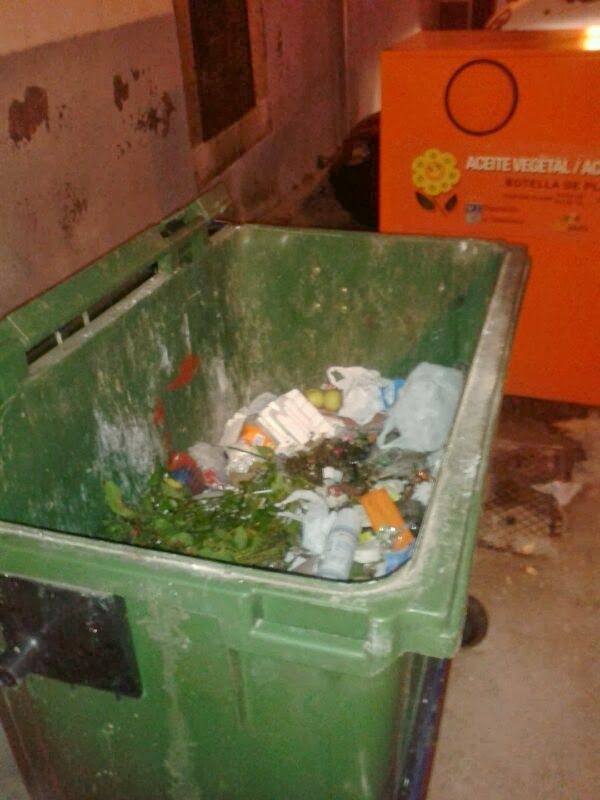 contenedor vaicado a medias tras el paso del servicio de recogida