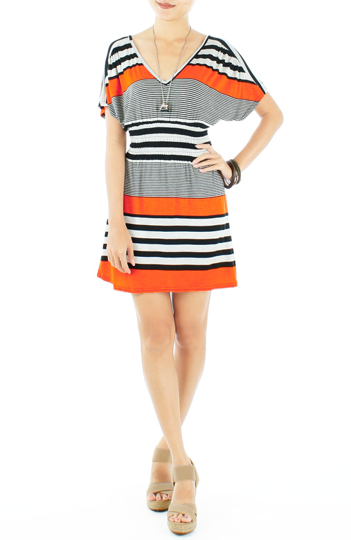 Orange Jubilee Getaway Stripe Dress