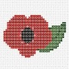 poppy for remembrance day cross stitch chart