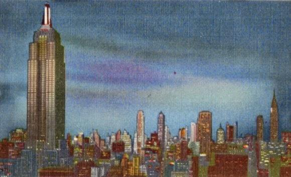 katiecrackernuts.blogspot.com || vintage postcard of New York City skyline at night