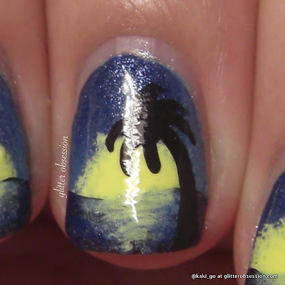 glitter obsession: Palm Tree Nail Art