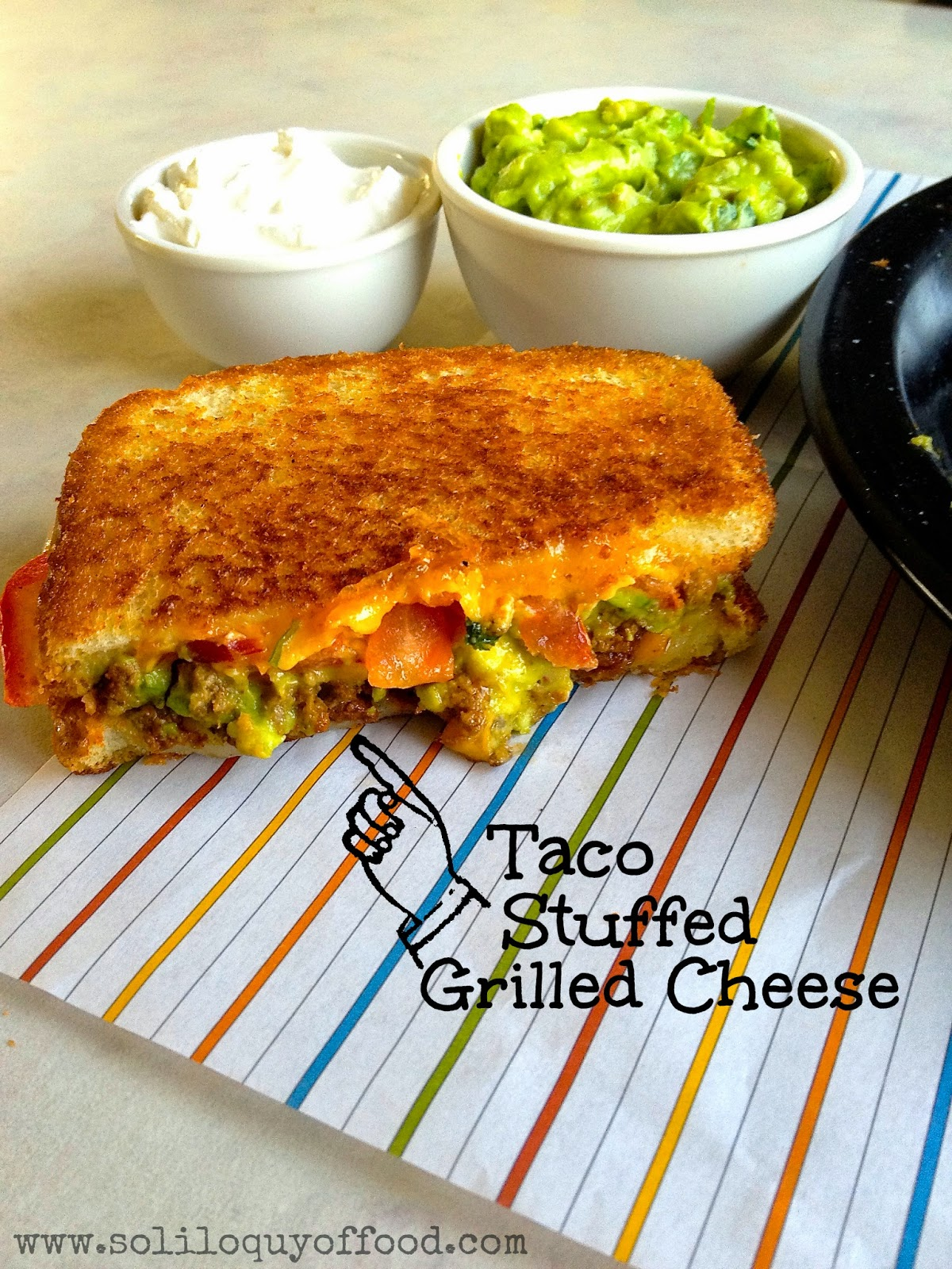 Taco Stuffed Grilled Cheese - You know you want one!  www.soliloquyoffood.com