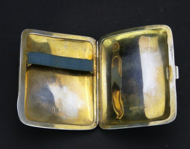 ANTIQUE 20thC ART DECO SOLID SILVER SECRET COMPARTMENT CIGARETTE CASE c.1925