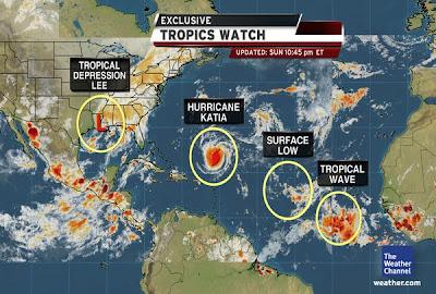 Gesamtsituation Atlantik und Pazifik vom 5. September 2011 - Was kommt nach LEE und KATIA?, Maria, Hilary, Atlantik, Pazifik, September, 2011, Hurrikansaison 2011, Lee, Katia, Vorhersage Forecast Prognose,