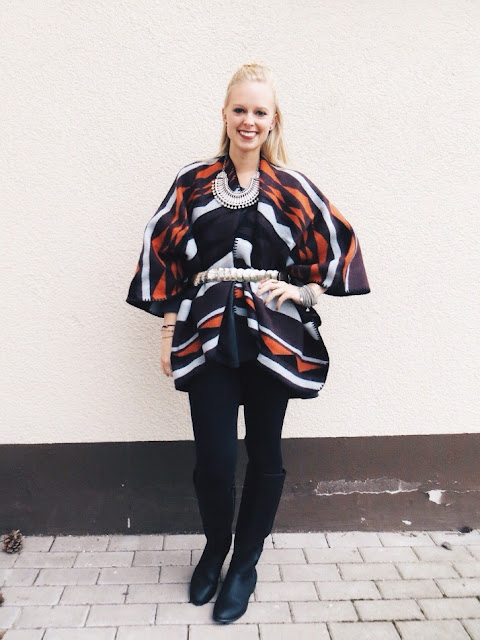 Old Navy Aztec print poncho, Old Navy tall black riding boots, Barefoot Belle hippie Kintala necklace, Emerson & Oliver Dia bracelets, fall fashion, fall outfit, cozy outfit