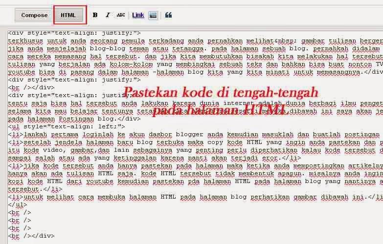 cara memasang kode HTML pada halaman Postingan blog