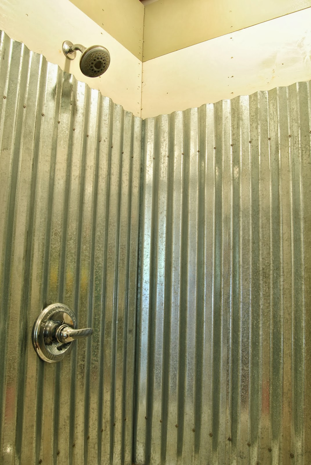 cottage dreamers galvanized corrugated metal shower surround q a rh cottagedreamers blogspot com