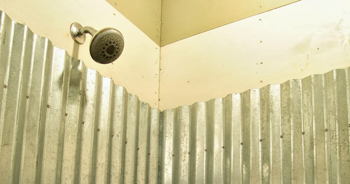 Cottage Dreamers Galvanized Corrugated Metal Shower