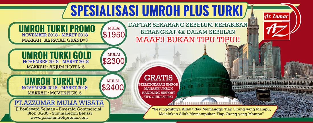 Paket Umroh Plus Turki 2018 - Azzumar Wisata 02129620582