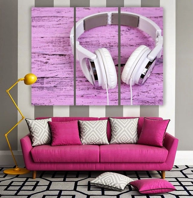 Modern mural 3D photo wallpapers headphones living room