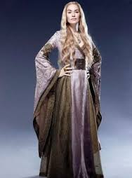 Cersei Lannister, all regal and dressed up and hot.