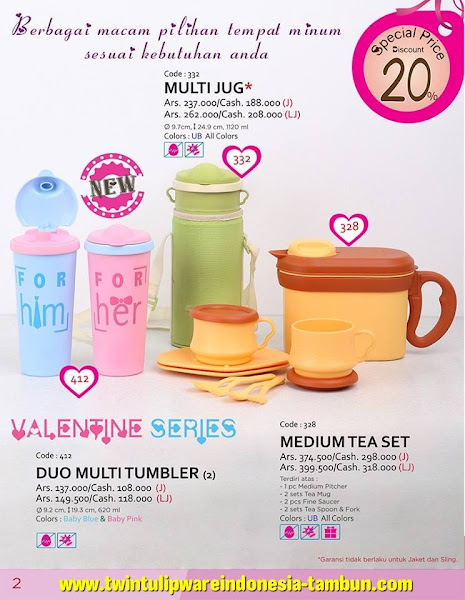 Promo Diskon Tulipware Februari 2016, Duo Multi Tumbler, Multi Jug, Medium Tea Set