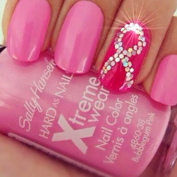 Breast Cancer Awareness Nail Art Inspiration Pink For Breast