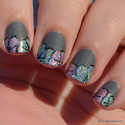 31dc2013, nail art, holographic, holo nail art, flower nail art, flower, flowers, flowers nail art, holo flowers nail a