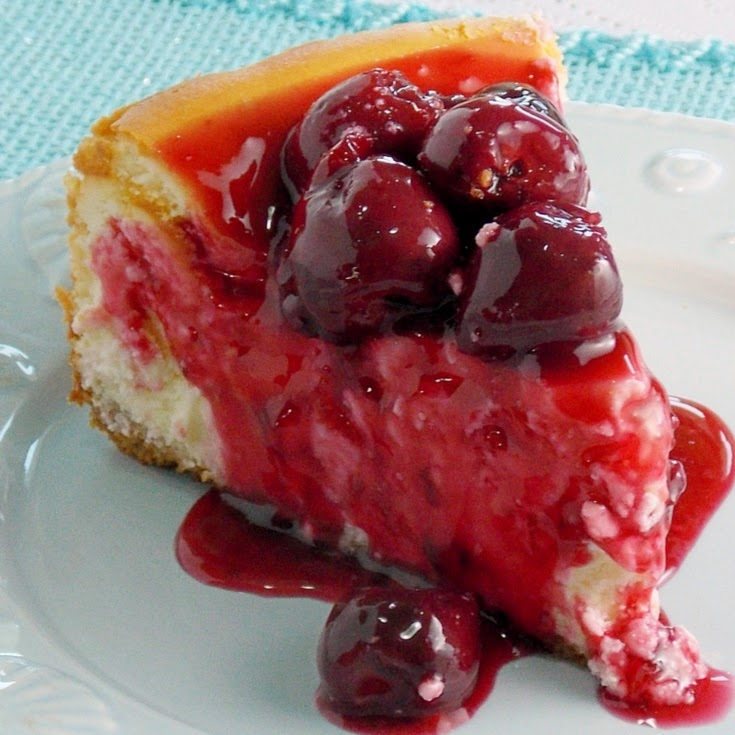 New York Style Cheesecake with Fresh Cherry Topping