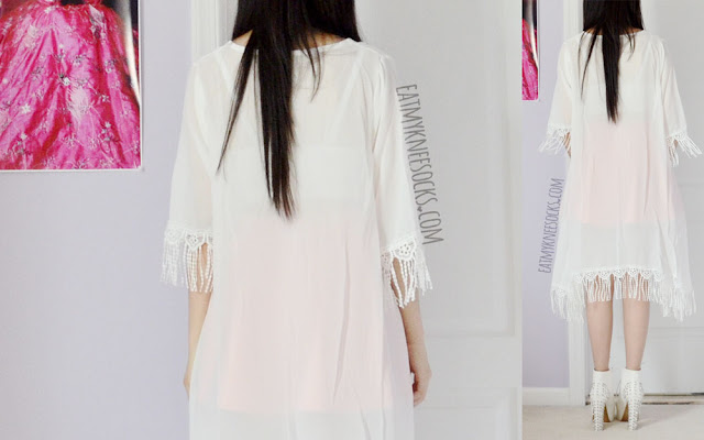 Back view of the white tassel-trim crochet fringed kimono from SheIn.