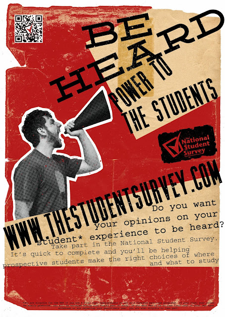 NSS, National Student Survey, competition, 2013, 2014, entry, nus, protest, propaganda, vintage, textured, graphic design, craft, art, be heard
