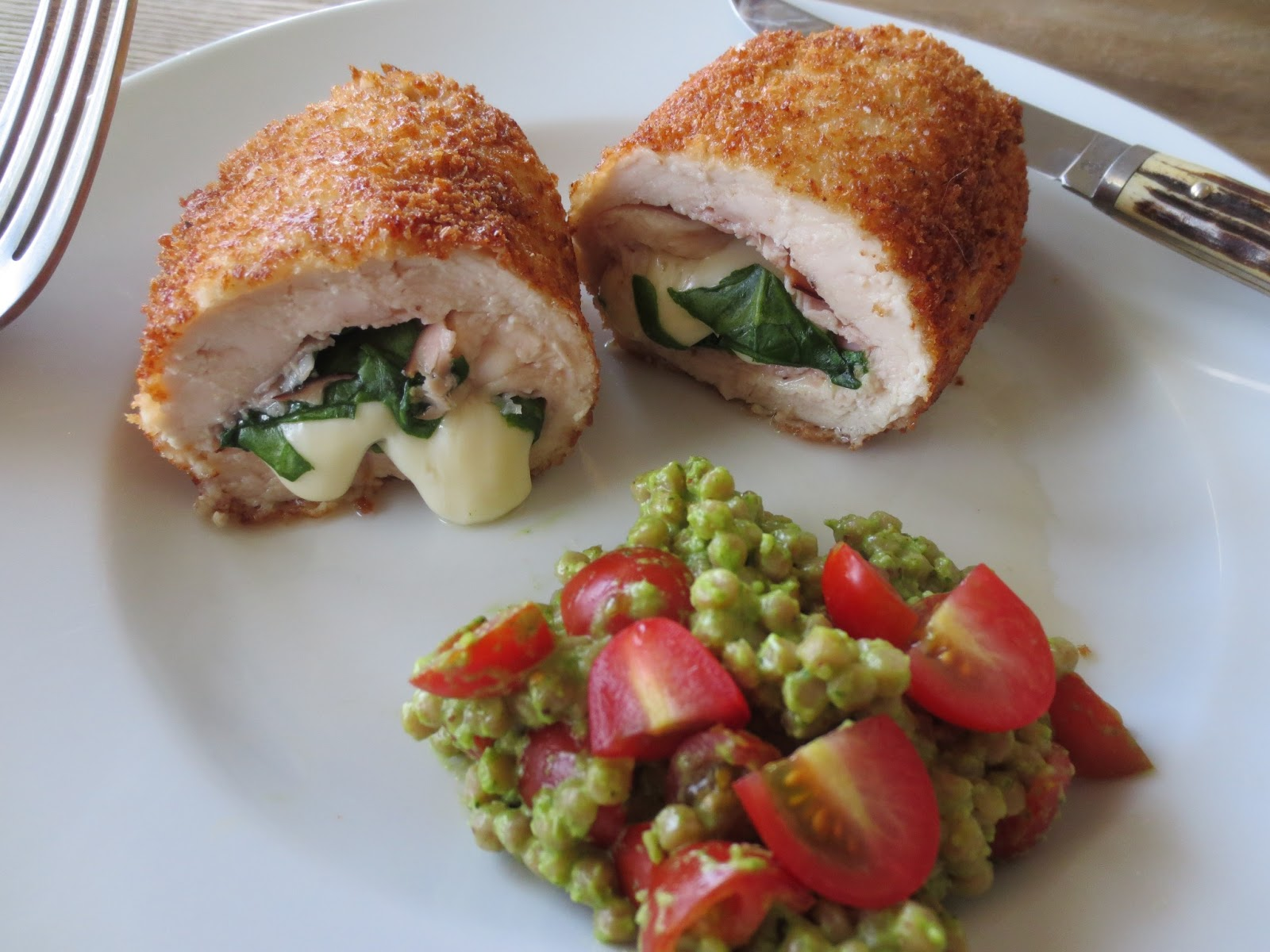 The Owl with the Goblet: Chicken Cordon Blue with Pesto Couscous