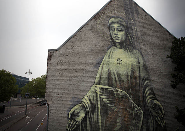 """Alas! how pitiful."" street art  Mural By Faith47 In Heerlen, Netherlands. details"