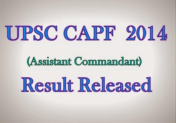 UPSC CAPF AC 2014 Results