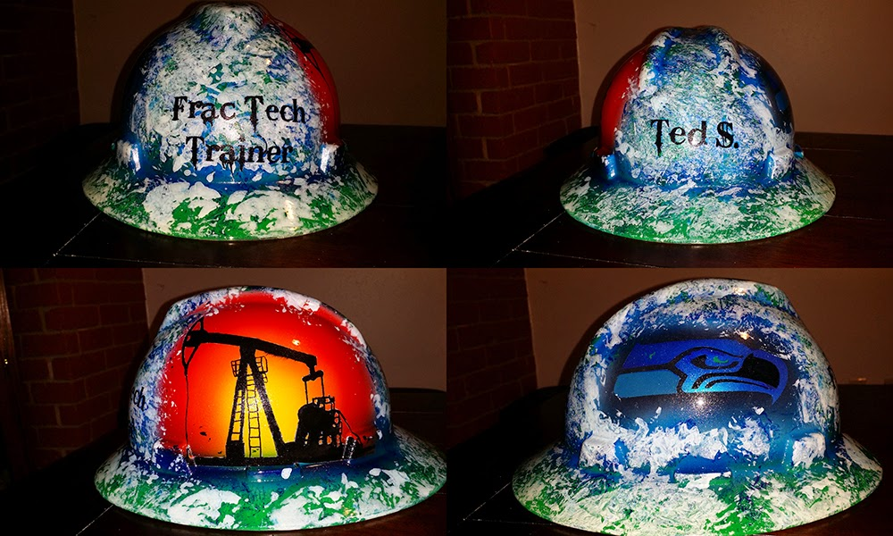Frac Tech trainer and Seattle Seahawks fan custom hard hat