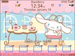 Tema: Cinnaromoll lives in a lovely cafe Untuk Blackberry