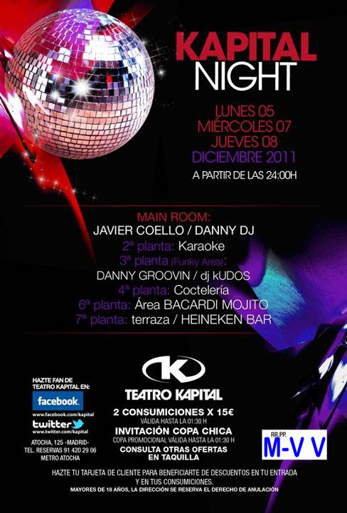Discoteca teatro kapital flyers fiestas for Kapital jueves gratis