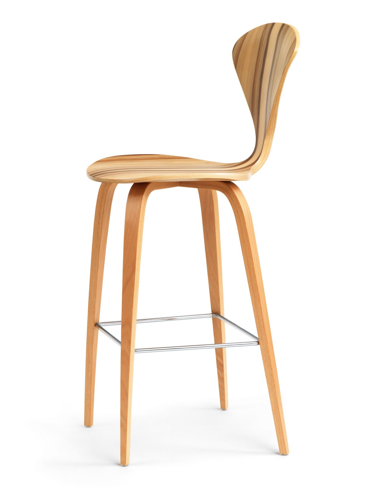 Cherner Red Gum Wood Base Modern Bar Or Counter Stool