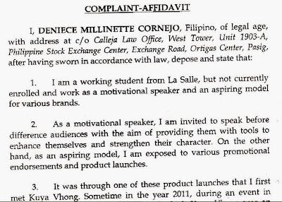 Deniece Cornejo's Complaint-Affidavit against Vhong Navarro