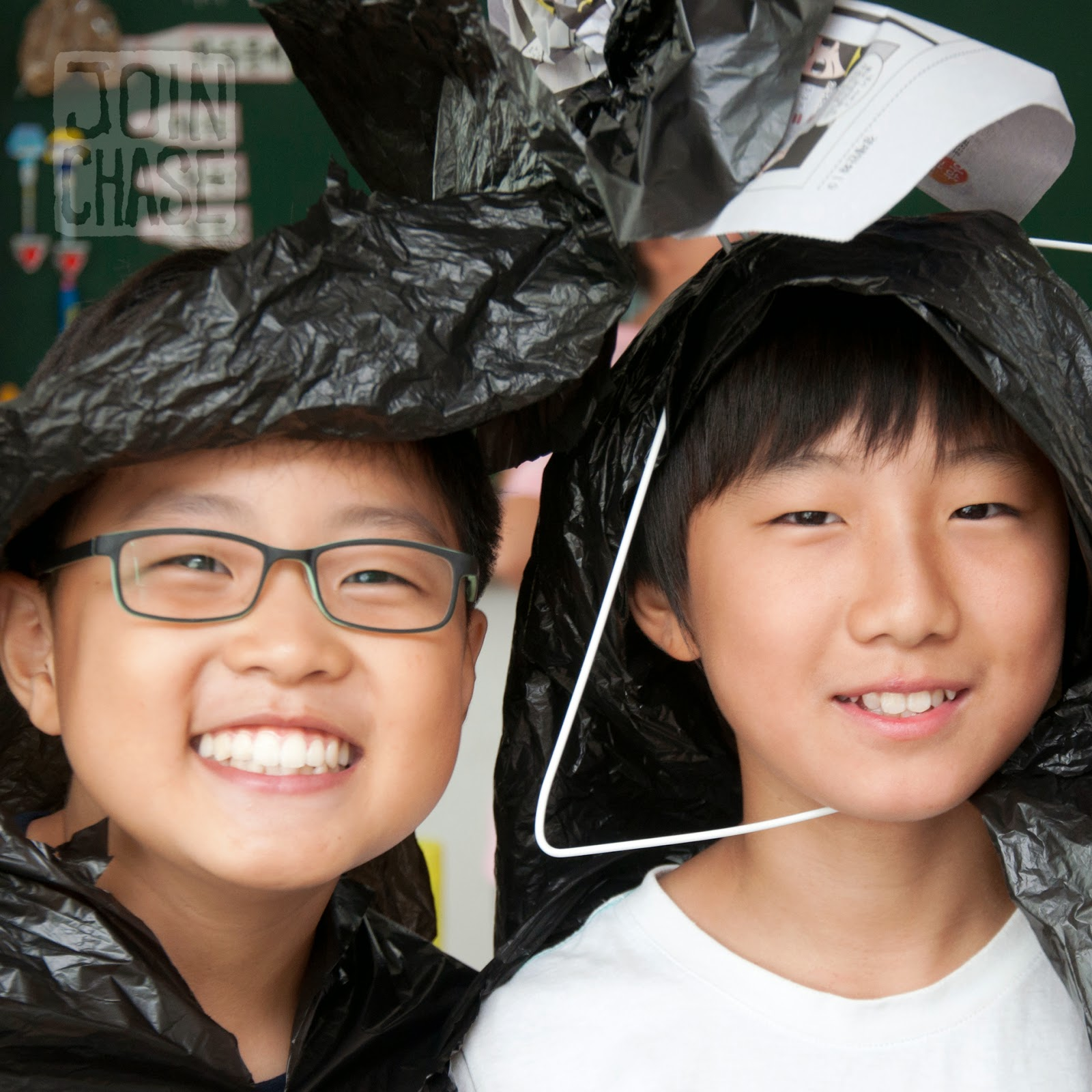 Korean students dressed in costume to do role-plays during an English lesson in South Korea.