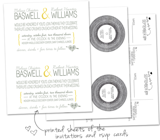The design on the front of the RSVP cards featured a vinyl record with our