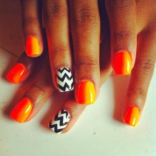 acrylic backfill then LED polish manicure in 'burnt tangerine and the classic black white chevron feats OPI Nail Polish Lacquer  Pedicure-care-natural-healthcare-Gel-Nail-Polish-beauty-Acrylic-Nails-Nail-Art-USA-UK