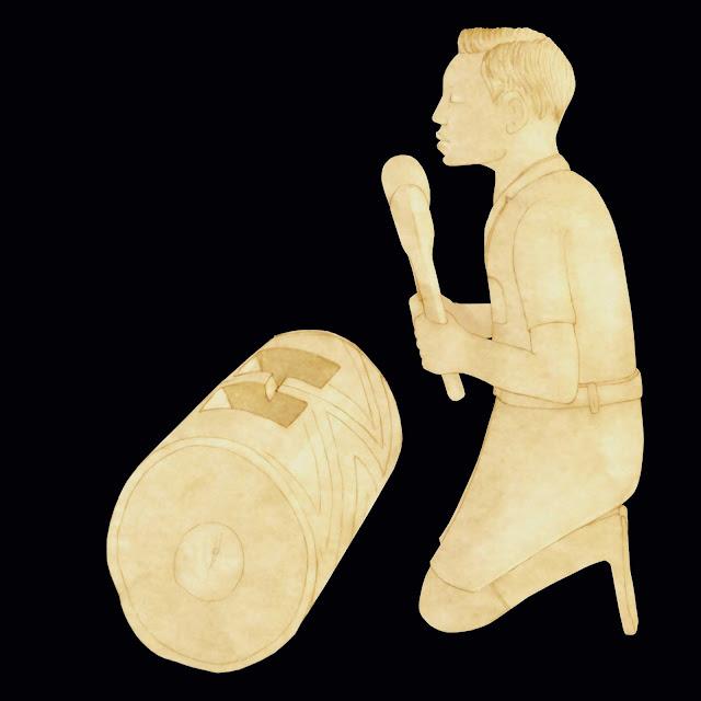 Congo, figura de marfil, tocando el tam-tam, dibujo