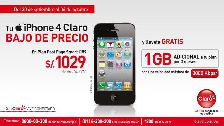 CLARO QUE TIENES MAS Iphone 4 Con Precio Reducido