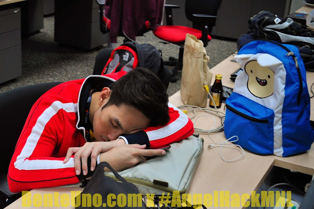 Tiring day at Angel Hack Manila 2013, so taking a nap is a must