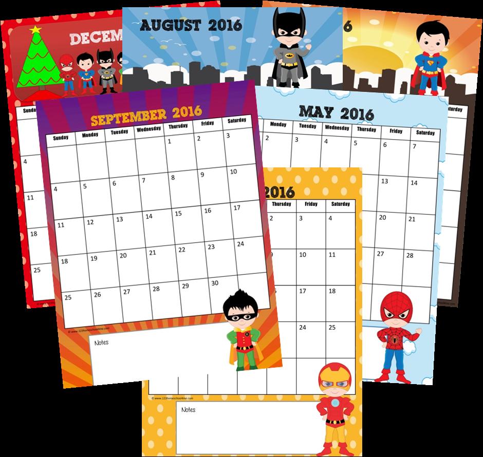 Calendar Preschool Printables : Free super hero calendar