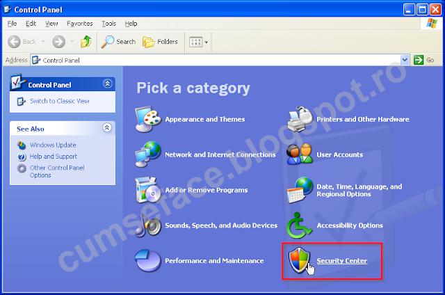 dezactivare firewall windows XP