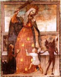 Mary, Exterminatrix of Heresies.  She has an Immaculate Heart and a club of truth.