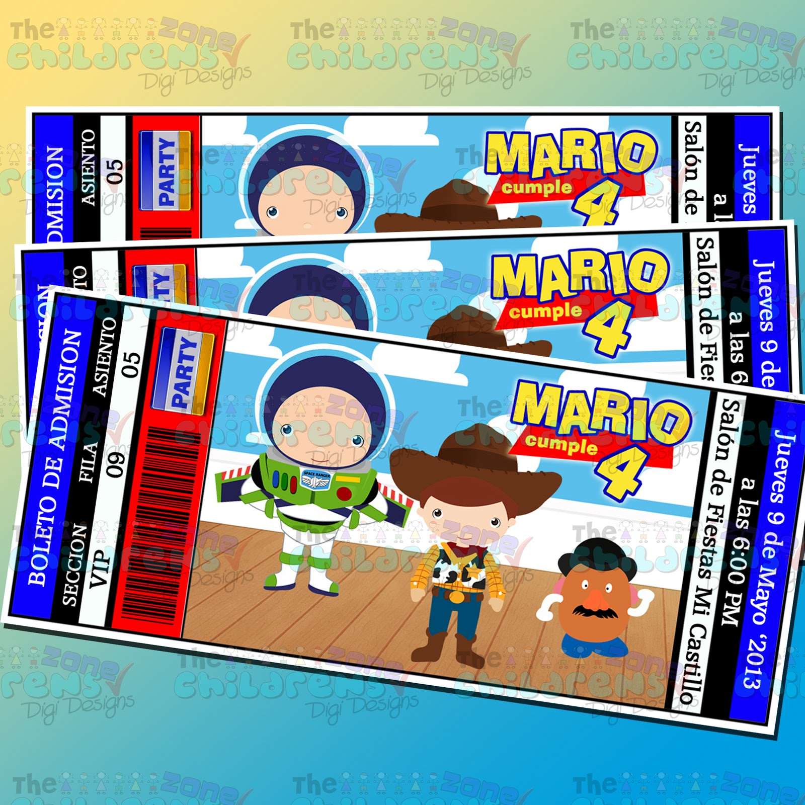 The Childrens Zone Digi Designs: Invitaciones de Toy Story