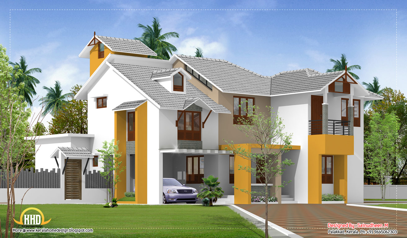 Exterior collections kerala home design 3d views of for Home designs kerala architects