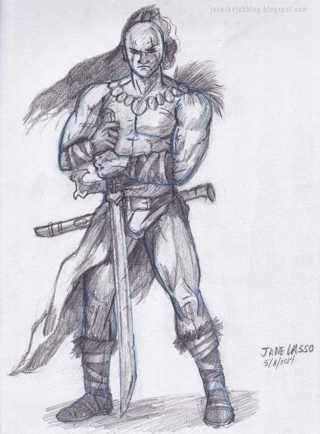 Dibujo de guerrero a lápiz