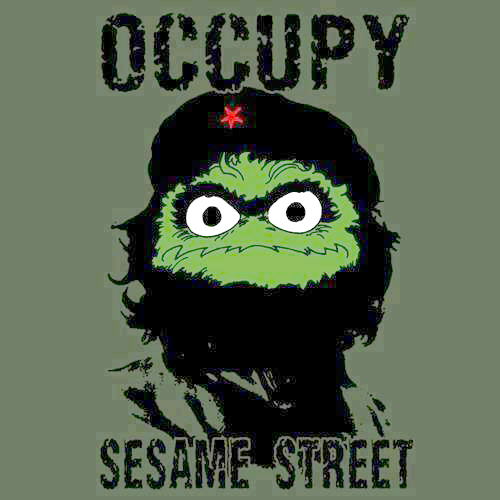 combination of Korda Che Guevara image with face of Oscar the Grouch - Occupy Sesame Street